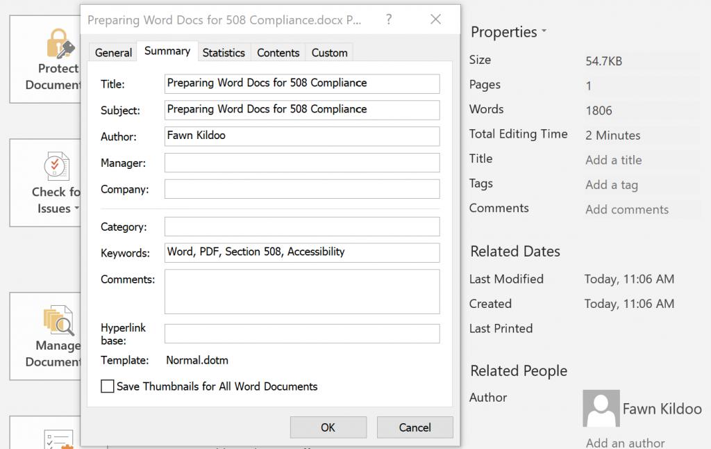 Document Properties Window